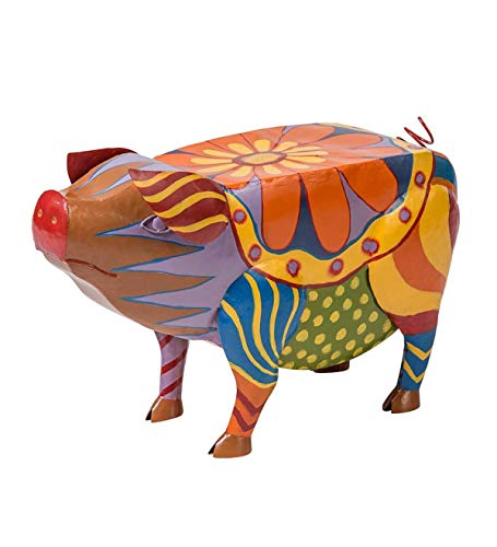 Plow & Hearth Folk Art Pig Table in Colorful Painted Metal - 25.5 L x 10 W x 16.50 H