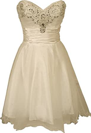 Strapless Layered Mesh Mini Dress with Beaded Sweetheart Neckline Junior Plus Size, Small, Ivory