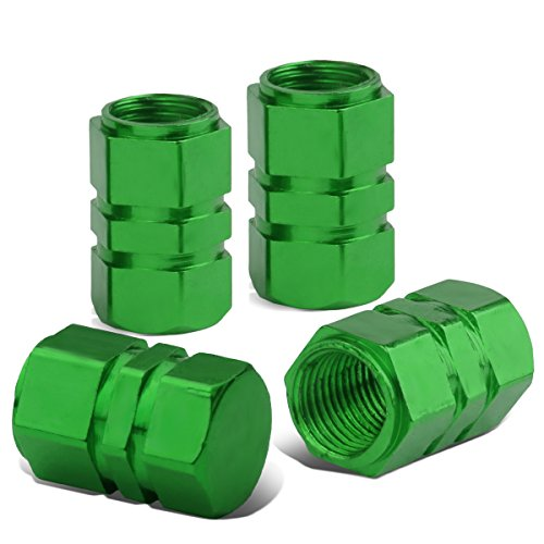 - 17mm Hexagon Style Anodized Aluminum Green Tire Valve Stem Caps (Pack of 4)