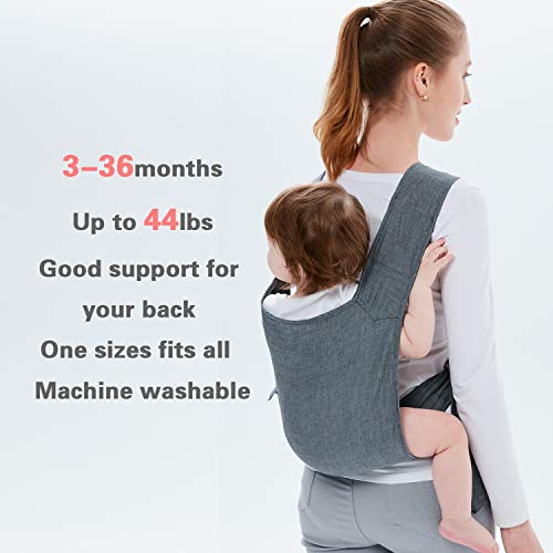 ightweight and Comfortable Backpack Style Sling for Babies 3 Months and Older 100% Cotton Cloth Wrap Soft Versatile Pouch Easy to Carry on Back for Hands Free Activities ()