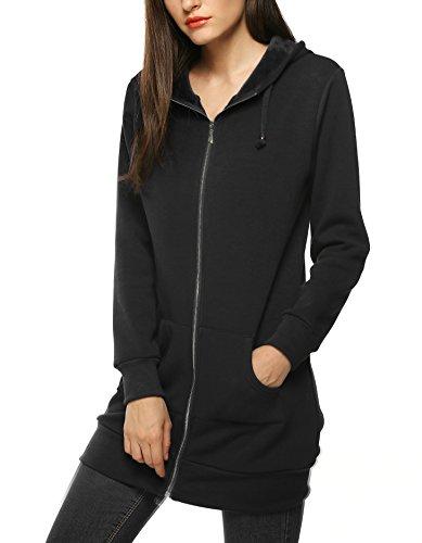 Zip up Coat Hoodie Cardigan Outwear Jacket Long Sweatshirt,Black,L ()