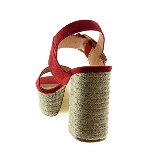 Angkorly Zapatillas Moda Sandalias Mules Correa de Tobillo Plataforma Mujer Cuerda Tanga Hebilla Tacón Ancho Alto 11 cm Rojo