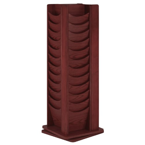 Buddy Products Solid Oak 48-Pocket Rotating Display Rack, 16.75 x 49.5 x 16.75 Inches, Mahogany (0615-16) ()