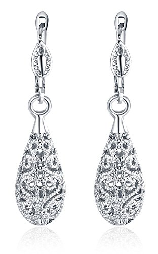 Eternity J. 18K White Gold Plated Floral Hollow Out Tear Drop Dangle Earrings for (Hollow Loose Ring)