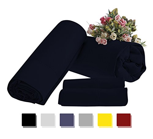 Mayfair Linen 1 Bestseller Now for Sale on Amazon - 100% Egyptian Cotton - 500 Thread Count 4 Piece Sheet Set- Color Navy Blue, Size Queen (1 Flat Sheet, 1 Fitted Sheet and 2 Pillow Cases)