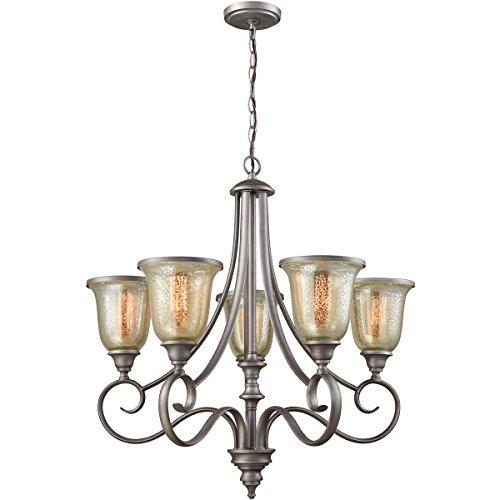 - Elk Lighting CN230527 Georgetown 5-Light Weathered Zinc with Mercury Glass Chandelier