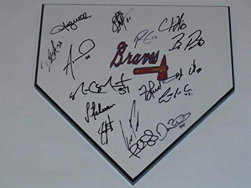 2015 Atlanta Braves Team Signed Home Plate Shelby Miller Julio Teheran Loaded! - MLB Game Used Bases