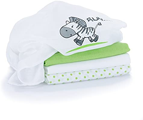 Muselina / Paño / Gasa algodón bebé - 4 Ud, 80x80 cm, estampado cebra, verde y blanco, Tejido doble con bordes reforzados, lavable a 60°, certificado OEKO-TEX: Amazon.es: Bebé