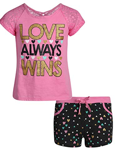 Real Love Girls 2-Piece French Terry Short Set, Pink Love Wins, Size 4'