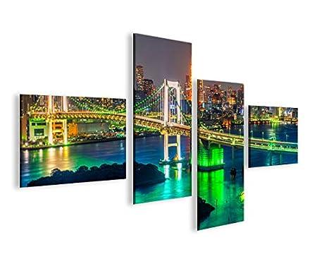 Tokyo V2 Japan 4er Bilder auf Leinwand Wandbild Kunstdruck Bild Poster