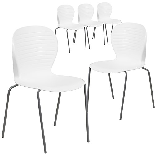 Flash Furniture 5 Pk. HERCULES Series 551 lb. Capacity White Stack Chair