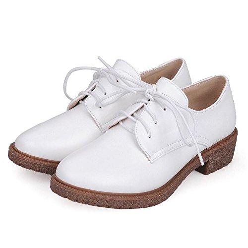 Zanpa Mujer Casual Zapatos Oxford Tacon Bajo Shoes White