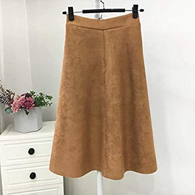 HEHEAB Falda de Invierno, Color marrón, de Gamuza, Cintura Alta ...