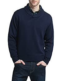 Mens Relaxed Fit Shawl Collar V Neck Sweater Pullover Merino Wool Blend Thick and Solid