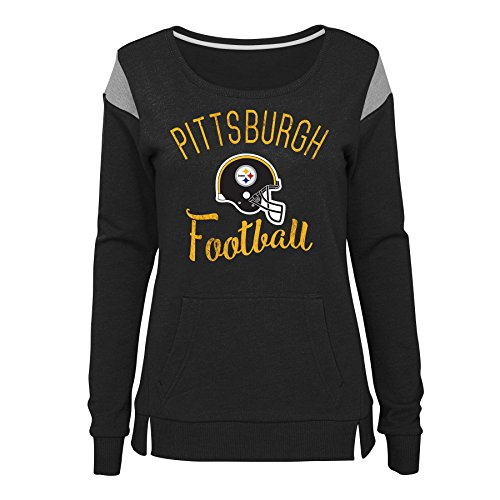 NFL by Outerstuff NFL Pittsburgh Steelers Juniors Classic Crew French Terry Pullover Black, Juniors Small(3-5) (Jersey Classic Screen Print)