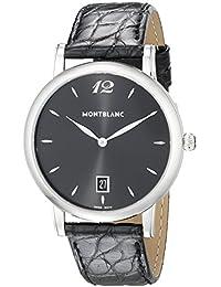 Star Classique Date Black Leather Strap Swiss Watch 108769