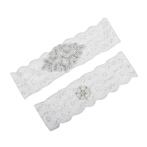 Prettybabyonline White Lace Bridal Wedding Leg Garter Belt Set Pearls (M/14-18 inches) Wedding Leg Garter