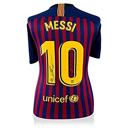 39e3abc1a28 Lionel Messi Signed Barcelona 2018/19 Home Shirt - Number 10 Autograph -  Autographed Soccer Jerseys at Amazon's Sports Collectibles Store