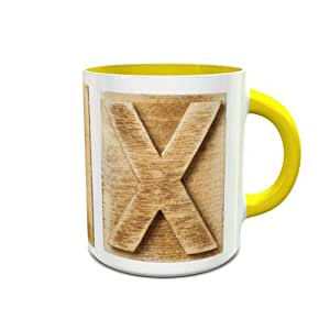 White and Yellow Ceramic Mug with Wooden Colored Alphabet X Design 378
