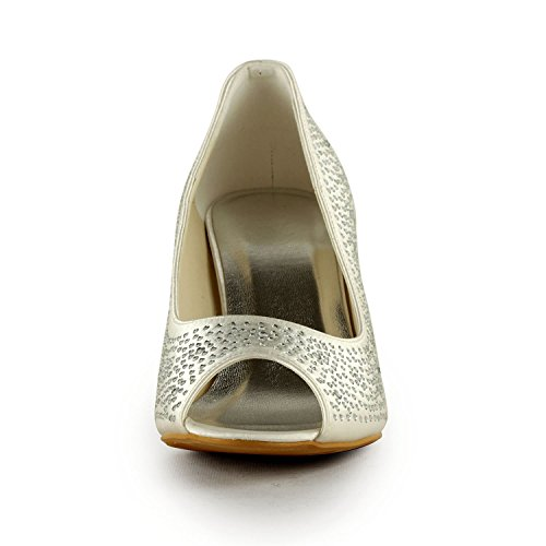 Minitoo - Sandalias de vestir para mujer Ivory-8cm Heel