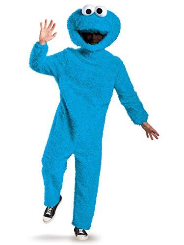 Cookie Monster Halloween Costume Men (Disguise Men's Full Plush Cookie Monster Prestige Adult Costume, Blue,)