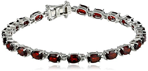 (Garnet Oval Cut Tennis Bracelet in Sterling Silver (11.5 cttw))
