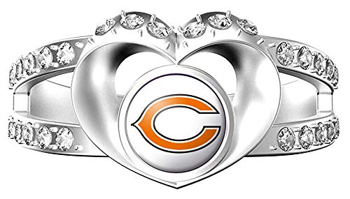 MT-Sports Heart Shaped Lady Ring Lady Exquisite Heart Shaped Ring (Chicago Bear, 7)