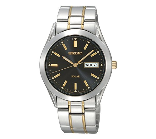 Seiko-Mens-Two-Tone-Black-Dial-Solar-Calendar-Watch