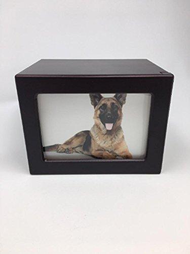 Pet Urn Peaceful Pet Memorial Keepsake Urn,Photo Box Pet Cremation Urn,Dog Urn,Cat Urn ,Small Animal Urn, Size,Large, Color,Cherry, 75 cu.in