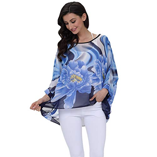 - Wiwish Women Summer Floral Printed Batwing Sleeve Top Chiffon Poncho Casual Loose Shirt Beach Blouse Tunic Tops (LDMD)