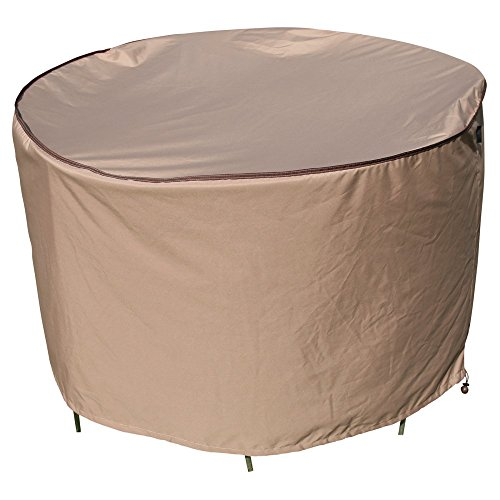 TrueShade Plus Round Table and Chairs Set Cover Water-Resistant (X large Tables with 4-6 Chairs 94″ Diamter x 36″ H) Tan