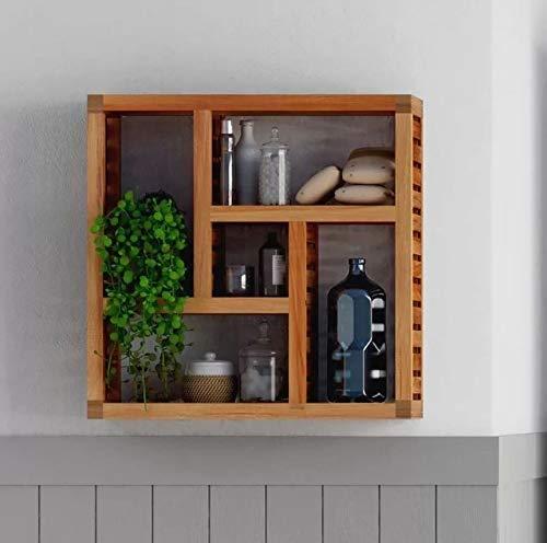 Stauraum Relaxdays Wandregal Walnuss mit 5 F/ächern Flur und Wohnzimmer natur HxBxT: 50 x 50 x 15 cm f/ür Badezimmer