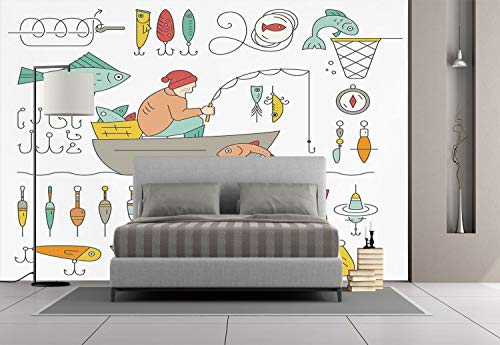 iPrint Large Wall Mural Sticker [ Nautical Decor,Fishing Gear Fisherman in The Boat Catching Fish Rod Bobber Tackle Hook Clip Work, Self-Adhesive Vinyl Wallpaper/Removable Modern Decorating Wall Art
