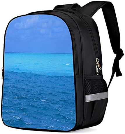 Unisex Durable School Backpack- Beautiful Blue Ocean and Sky, Lightweight Oxford Fabric School Bags with Reflective Strip Daypack Laptop Bags