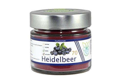 VITARAGNA Heidelbeer Fruchtextrakt 70, Qualitätsprodukt mit Heidelbeer-Extrakt, Heidelbeer-Pulver auch Blaubeer-Fruchtpulver, vegan, clean, glutenfrei, sojafrei, milchfrei, zuckerfrei