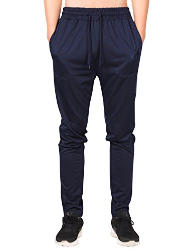MrWonder Men's Casual Zip Joggers Pants Jersey Fitness Running Trousers Slim Fit Bottoms Sweatpants With Pockets Navy Blue - Running Bottoms