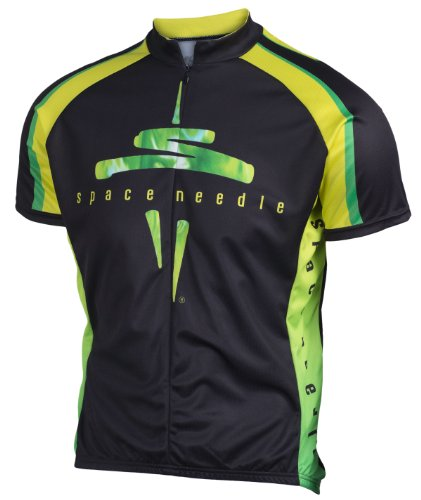 Space Needle Cycling Jersey with Seattle Skyline, Black, Men's Club Cut