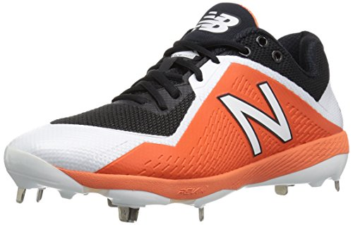 New Balance Men's L4040v4 Metal Baseball Shoe, Black/Orange, 11.5 D ()