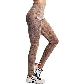 Neleus Tummy Control High Waist Workout Running Leggings for Women,9033,One Piece,Brown,XL,EU 2XL