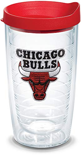 Tervis 1064559 NBA Chicago Bulls Primary Logo Tumbler with Emblem and Red Lid 16oz, Clear