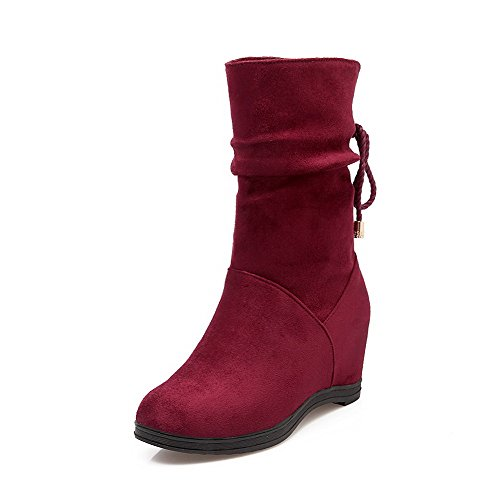 Allhqfashion Womens Mid Top Lace Up Hoge Hakken Ronde Gesloten Teen Laarzen Claret