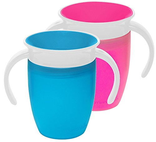 Munchkin Miracle 360 Trainer Cup, Blue/Pink, 7 Ounce, 2 Count