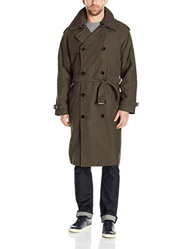 London Fog Men's Double Breasted Belted Iconic Trench Coat, with Zip Out Liner, Covert, 40 Short
