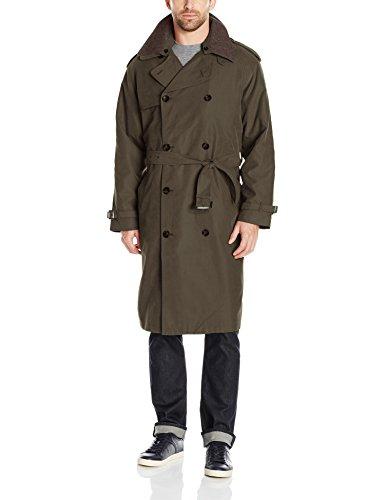 London Fog Men's Iconic Trench Coat, Covert Green, -