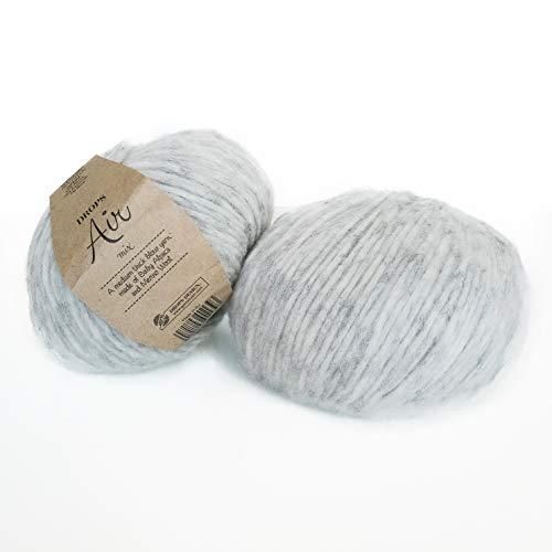 (Baby Alpaca and Merino Wool Yarn, 4 Medium, Worsted, Aran, Drops Air, 1.8 oz 164 Yards (03 Pearl Grey))