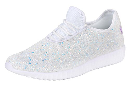 Forever Link Women's REMY-18 Glitter Fashion Sneakers White 8.5