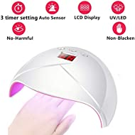 UV Light Nail Lamp 36W LED Nail Dryer Curing Lamp with 3 Timer Portable Nail Polish Dryer with Sensor & LCD Display curing all Gels Polish for Finger & Foot