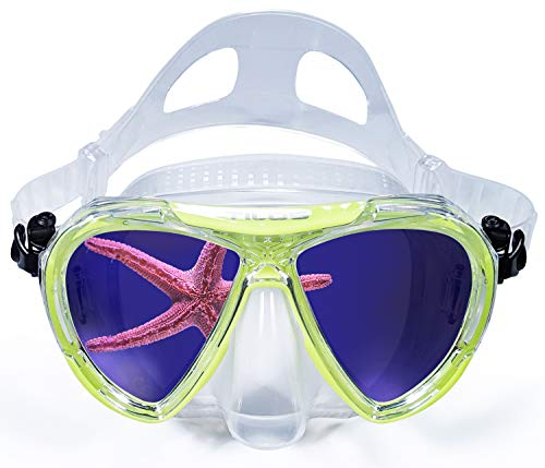(Revo, Wide View Snorkel Diving Mask: Scuba, Snorkeling, Free Dive, and Swim 180 Masks - Anti Fog Divers Goggles with Double Lens, Nose Cover, Silicone Strap - Men / Women Adult Water Gear - Yellow)
