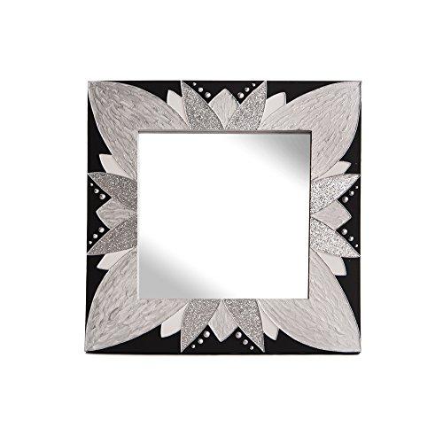 Lohoart L-1250-3 - Espejo sobre Lienzo Pintado Artesanal, Espejo Pared Color Negro y Plata, Medidas 80X80X15 cm