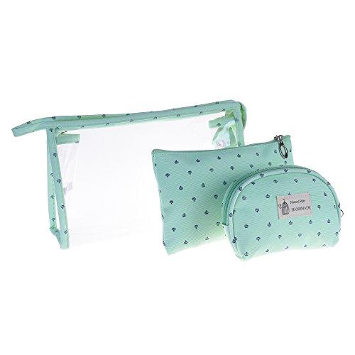 BCP 3 Piece PVC Cosmetic Makeup Travel Bag Set Aqua Blue Color ()